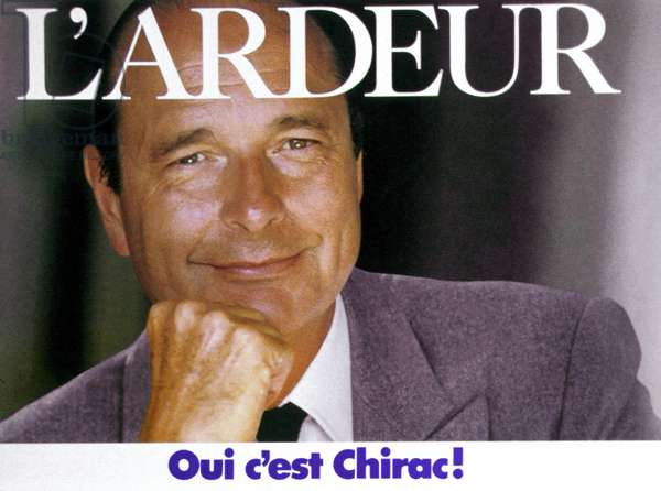Electoral Poster of Candidate Jacques Chirac (Prime Minister at That Time) For Presidential Campaign in 1988 France (photo)