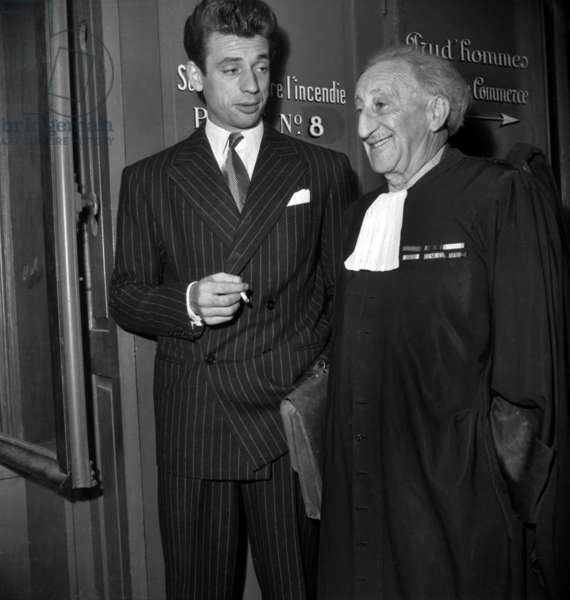 French Actor Yves Montand and his Lawyer Levy Ouleman (Warner Trial) Paris, September 30, 1947 (b/w photo)