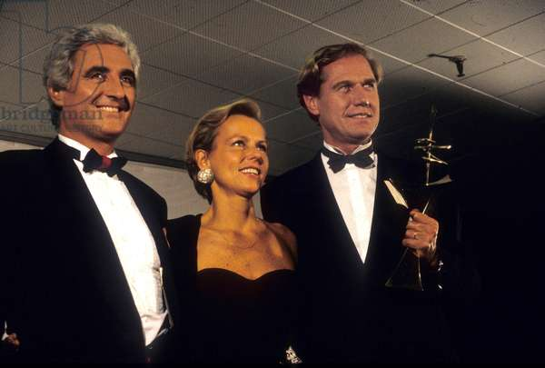 French Journalists Jean Loup Dabadie, Christine Ockrent and Bernard Rapp Have Received A Prize Given By Tvguide Tele 7 Jours in September 1988 (photo)
