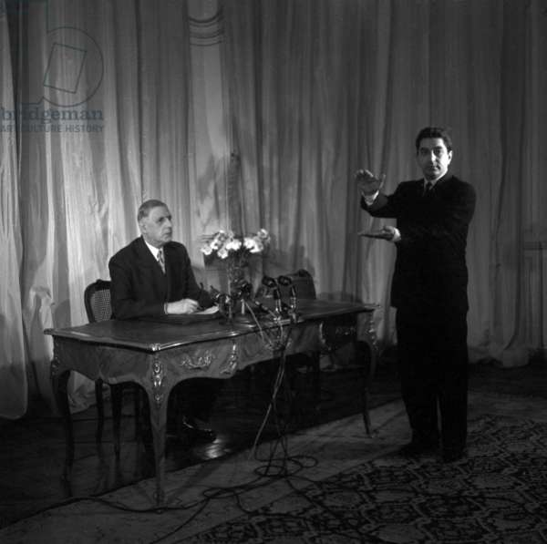 General De Gaulle and Head of French Broadcasting Channel Mr Anjubault Preparing TV Programme For May 19, 1958 at The Time of War in Algeria (b/w photo)
