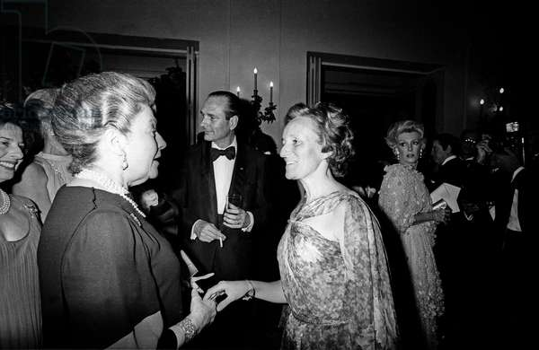 Bernadette Chirac With Countess of Paris, and Behind : Jacques Chirac at George V Hotel in Paris Before April in Paris Ball April 28, 1978 (b/w photo)