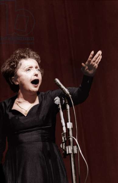 French Singer Edith Piaf at The Olympia in Paris on February 7, 1958 (photo)