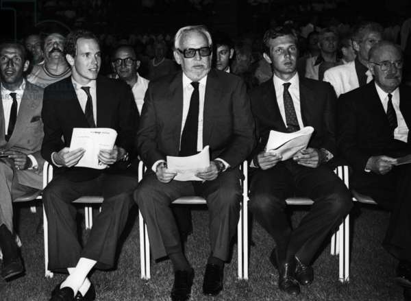 Prince Albert of Monaco (Future Albert Ii), Prince Rainier Iii of Monaco and Stefano Casiraghi Attending Boxing Matches, Monaco, July 16, 1984 (b/w photo)