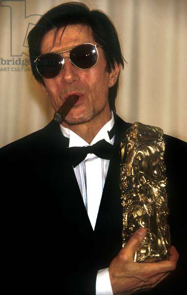 French Actor Jacques Dutronc Receiving French Film Award Cesar : Best Actor in Film Van Gogh, 1992 (photo)