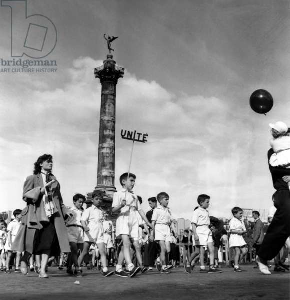 Demonstration in Paris on May 1St, 1952 (Labour Day) (b/w photo)