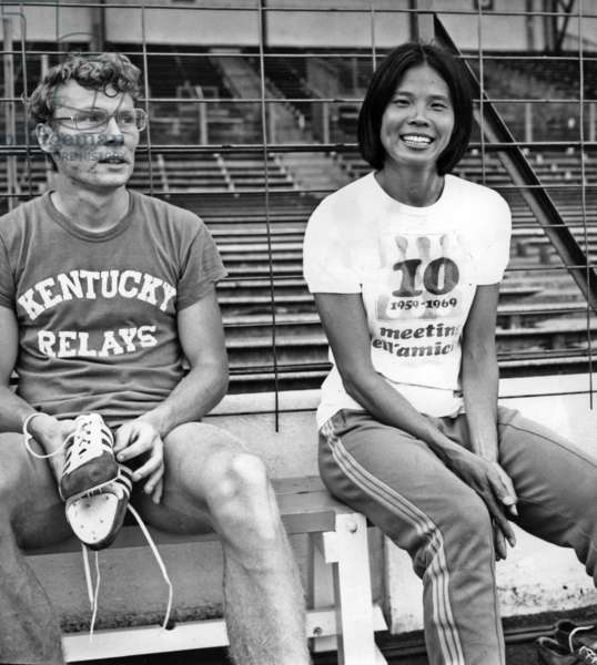 American Athletes Vinzenreed And Chi Chang During Their Training At The Doves Stadium July 6, 1970 (b/w photo)