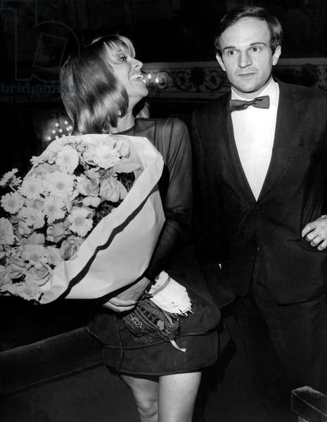 Director Francois Truffaut and Actress Julie Christie at Gala For Film Fahrenheit 451 in Paris September 16, 1966 (b/w photo)