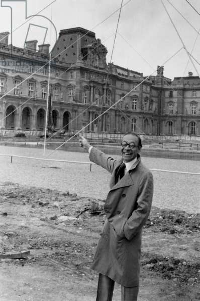 The Architect Ieoh Ming Pei in Front of The Mock-Up of Louvre Pyramid in Paris on May 2, 1985 (b/w photo)