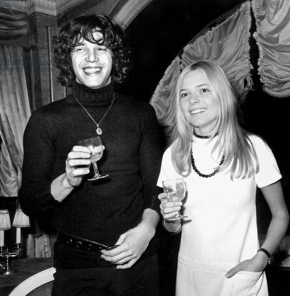 French Singers France Gall and Julien Clerc in 1969 (b/w photo)