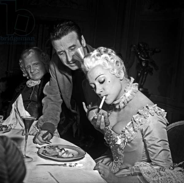 Martine Carol and Christian-Jaque on Set of Film Madame Du Barry March 6, 1954 (b/w photo)