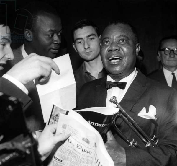 Jazzman Louis Armstrong For his Concert at The Palais Des Sports, Paris, June 5, 1965 (b/w photo)