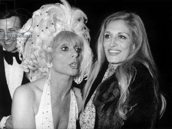 "Dalida Congratulating Annie Cordy After Premiere of her Show ""Nini La Chance"" in Paris, November 4, 1976 (b/w photo)"