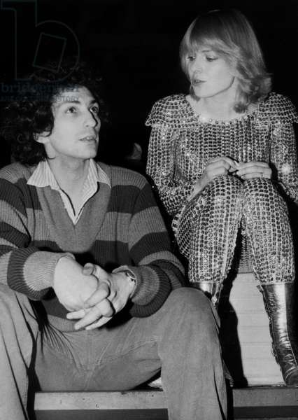 The French Composer and Singer Michel Berger With her Wife Singer France Gall at The Stamania 'S Rehearsal April 4 1979 (b/w photo)