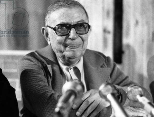 Jean Paul Sartre during Press Conference, Explaining That He Resigned From A2 Tv-Channel Because of Censorship September 25, 1975 (b/w photo)