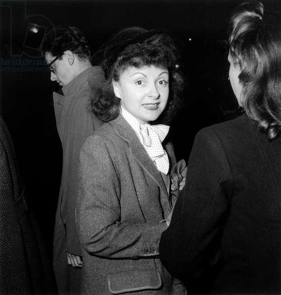 Odette Joyeux, French Actress, on Set of Film Summer Storm 1949 (b/w photo)