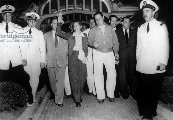 Argentinian President Juan Peron and his Wife Eva Peron during Opening of A Gas Factory, With Them Are Jose G Espejo and Minister of Defence General Josa Molina in January 1952 (b/w photo)