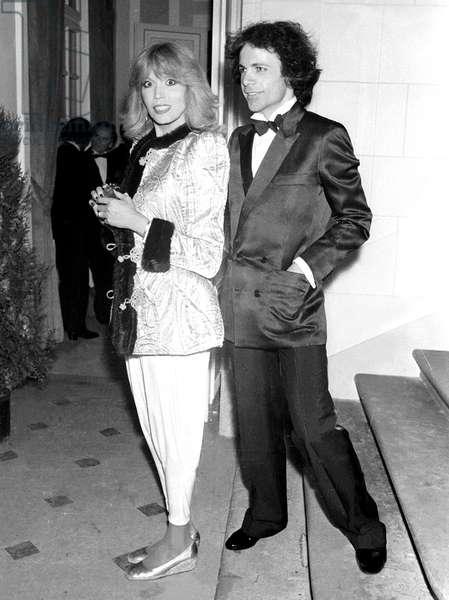 Amanda Lear and her Husband Alain Philippe Malagnac D'Argens De Villele on December 5, 1981 (b/w photo)