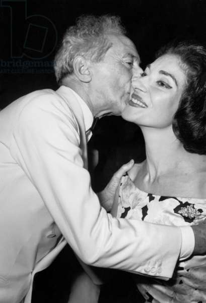 """Jean Cocteau Kissing Maria Callas After Showing of Film """"L'Amerique Insolite"""" at Cannes Festival May 18, 1960 (b/w photo)"""