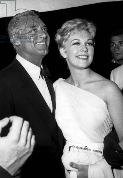 Actors Kim Novak and Cary Grant at Cannes Festival May 15, 1959 (b/w photo)