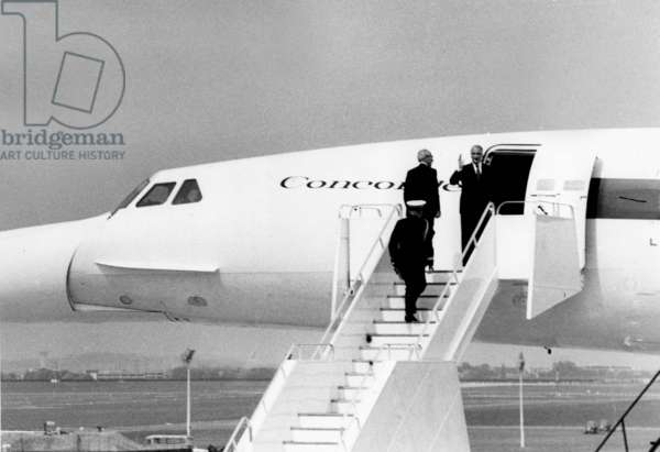 French President Georges Pompidou Going Up Concorde With Henri Ziegler Director of Sud Aviation May 7, 1971, Bourget Airport, Paris (b/w photo)