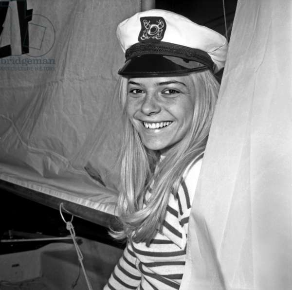 French Singer France Gall With Sailor Suit at Sailing Show, Paris, January 17, 1968 (b/w photo)