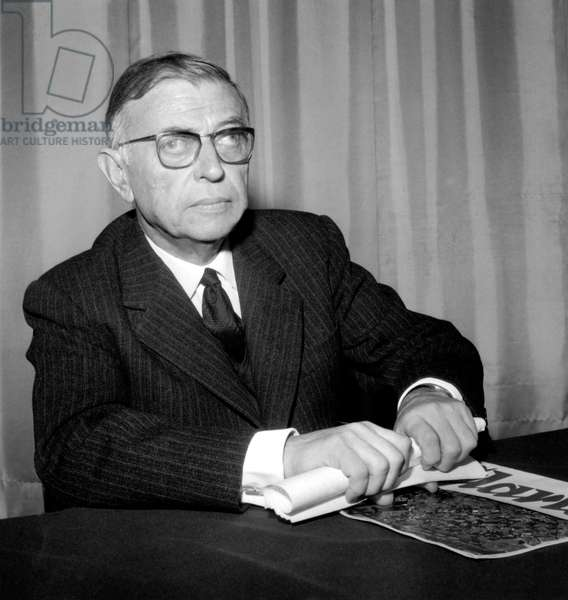 Jean Paul Sartre during Conference in Paris on December 10, 1964 (b/w photo)