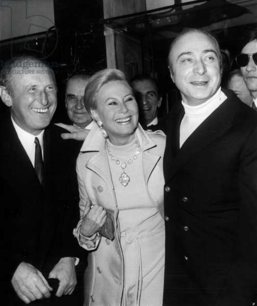"""Bourvil, Michele Morgan and Gerard Oury at Premiere of Film """"The Brain"""" in Paris, March 7, 1969 (b/w photo)"""