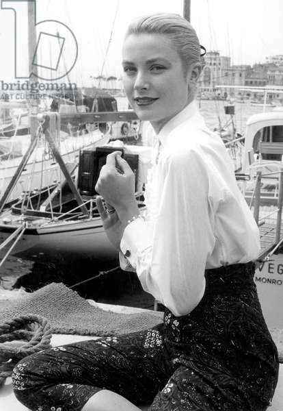 Grace Kelly During Cannes Festival on May 6, 1955 (b/w photo)