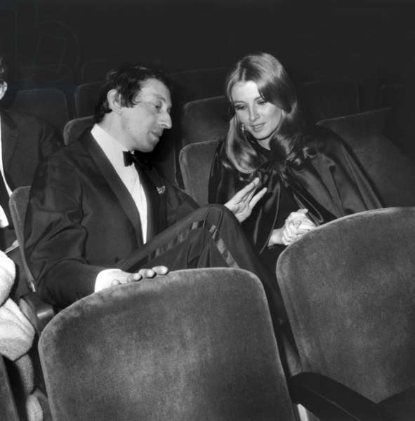French Singer Serge Gainsbourg With Valerie Lagrange on May 13, 1966 (b/w photo)
