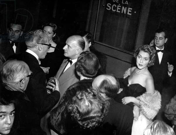 "French Composer Maurice Yvain and Film Maker Producer Maurice Lehmann at Premiere of ""White Snow"" at The Opera De Paris November 1951 (b/w photo)"