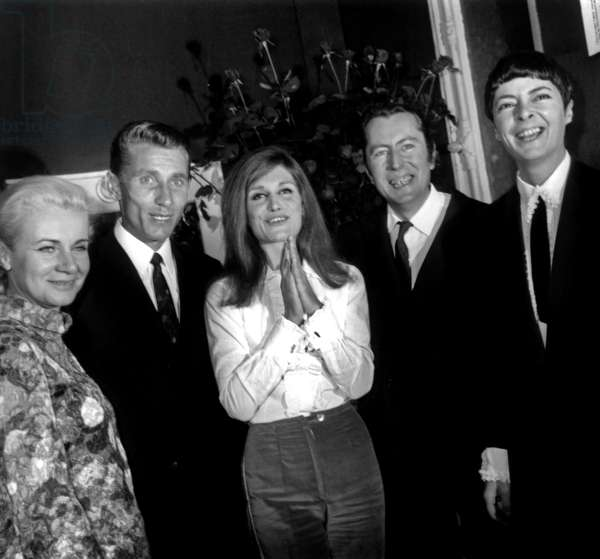 Dalida Congratulated By Jacques Anquetil With his Wife (L) and Bernard Buffet With his Wife Annabel After her Concert at The Olympia in Paris October 6, 1967 (b/w photo)