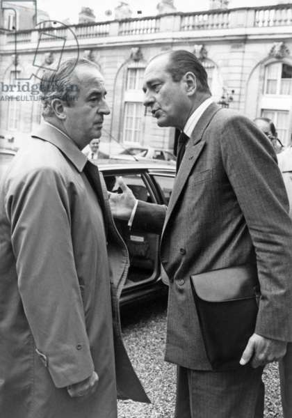 Edouard Balladur and Jacques Chirac, French Prime Minister, Leaving Elysee Palace After Council of Ministers October 28, 1987 (b/w photo)