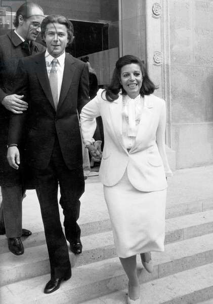Wedding of Christiana Onassis (Daughter of Aristote Onassis) and Thierry Roussel in Paris March 19, 1964 (b/w photo)