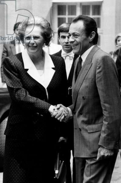 British Prime Minister Margaret Thatcher and French Prime Minister Michel Rocard, Paris, France, June 10, 1988 (b/w photo)