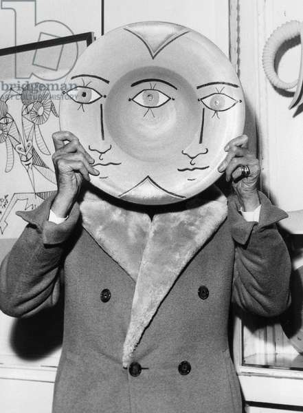 """Jean Cocteau Presenting Potteries (Here """"The 3 Eyes"""") in A Gallery in Paris, November 13, 1958"""