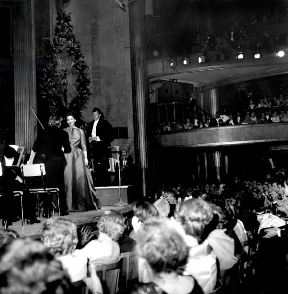Opera Singer Maria Callas on Stage For Charity Concert in Favour of The Order of The Knights of Malta, in Paris June 06, 1963 (b/w photo)