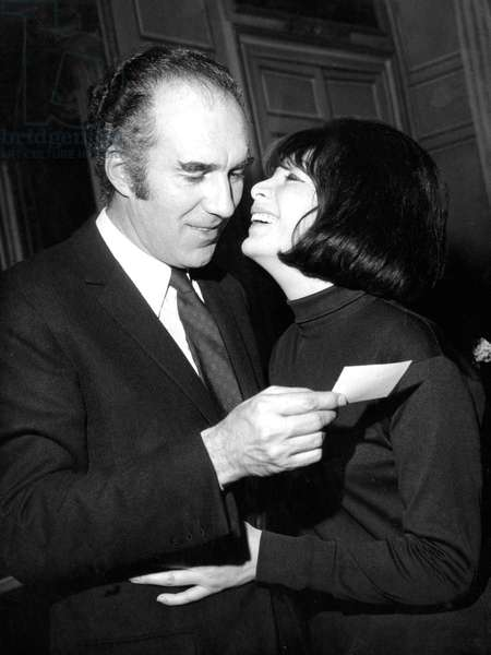 Actors Juliette Greco and Michel Piccoli at Home After Their Wedding on December 14, 1966 (b/w photo)