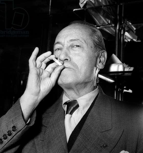 French Writer and Scriptwriter Maurice Dekobra at Movie Price in Paris November 27, 1951 (b/w photo)