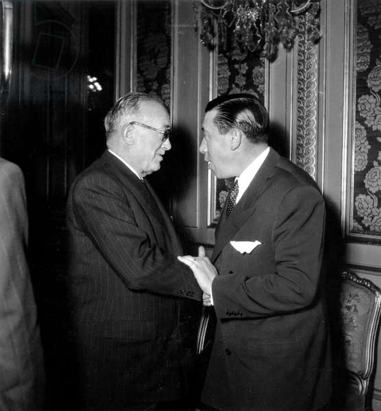 French President Vincent Auriol and Actor Fernandel at Christmas Party at Elysee Palace December 18, 1948 (b/w photo)