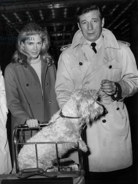 """Yves Montand And Candice Bergen At Orly Airport Departing In Kenya To Turn """"Live For Life"""" December 11, 1966 (b/w photo)"""