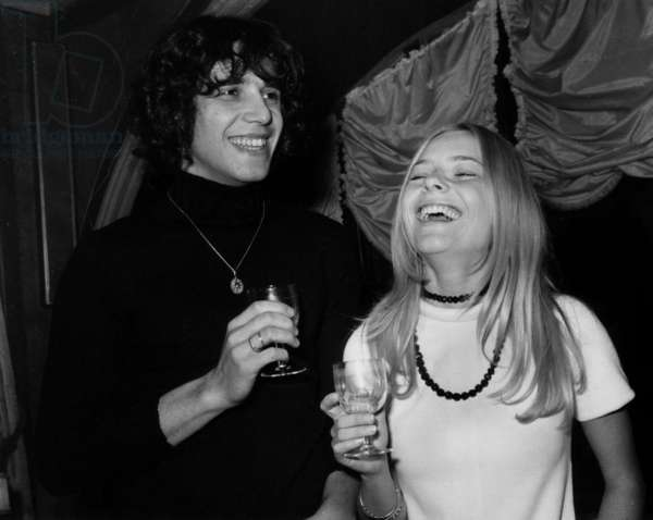 Singers Julien Clerc and France Gall at Maxim'S Restaurant in 1969 (b/w photo)