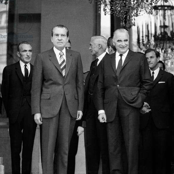 American President Richard Nixon and Franch President Georges Pompidou at Elysee in Paris After Mass in Tribute of Charlesdegaulle, November 12, 1970 (b/w photo)