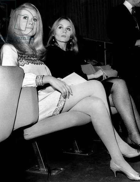 Actresses Catherine Deneuve and Francoise Dorleac at Opening of New Movie Theatre Translux-Pulman in Paris November 9, 1966 (b/w photo)