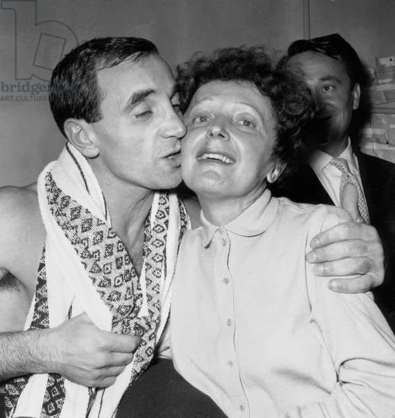 Edith Piaf and Charles Aznavour After his Show in Paris October 9, 1958 (b/w photo)