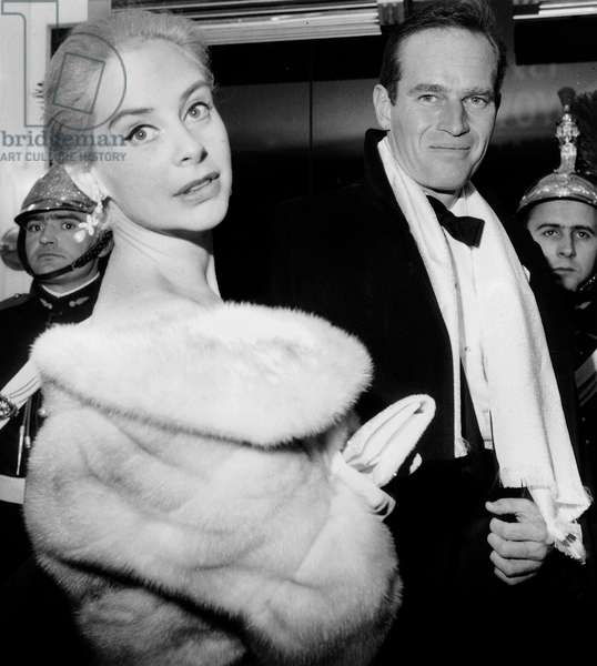 Charlton Heston and Genevieve Page at Premiere of Film The Cid December 19, 1961 (b/w photo)