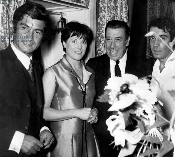 Jean-Claude Brialy and Fernandel Congratulating Colette Renard and Franck Fernandel After Performance of Play Irma La Douce October 22, 1967, Paris (b/w photo)