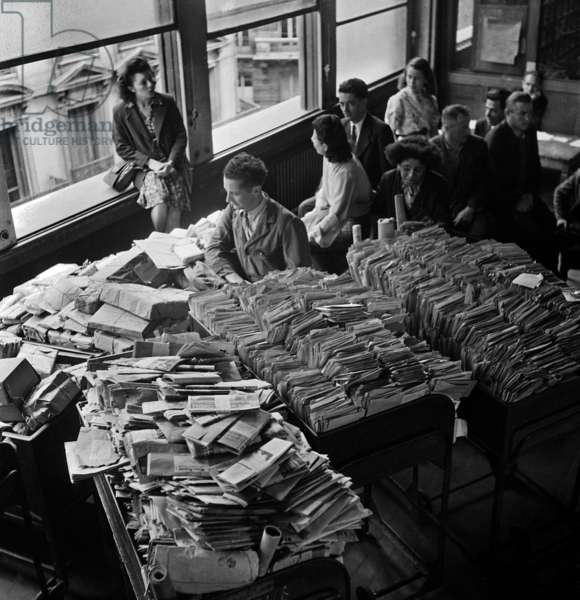 Ptt (French Public Administration of Postal Services and Telecommunications) on Strike : here in A Sorting Office, Paris, August 2, 1946 (b/w photo)