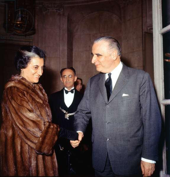 French Prime Minister Georges Pompidou Meeting his Indian Counterpart Indira Gandhi A Paris March 25, 1966 (photo)