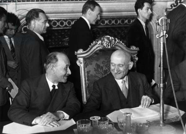 Jean Monnet (L) and Robert Schuman during Conference About Schuman'S Plan (European Coal and Steel Community, Ecsc) on June 20, 1950 (b/w photo)