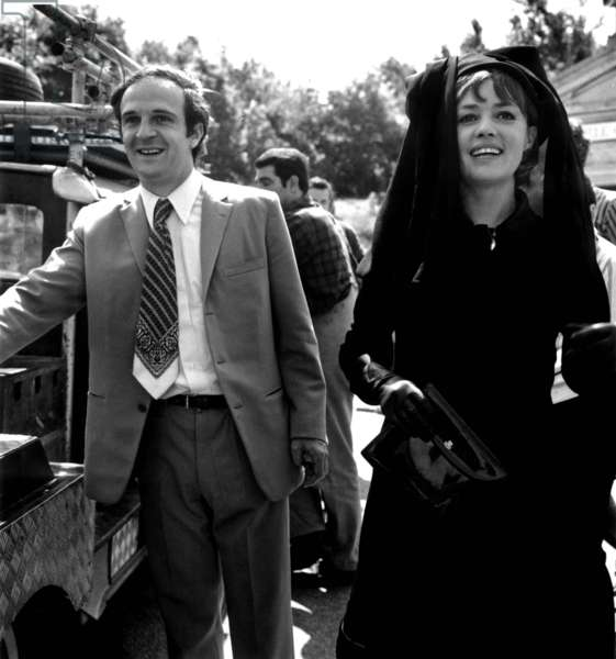Director Francois Truffaut and Actress Jeanne Moreau on Set of Film The Bride Wore Black June 14, 1967 (b/w photo)